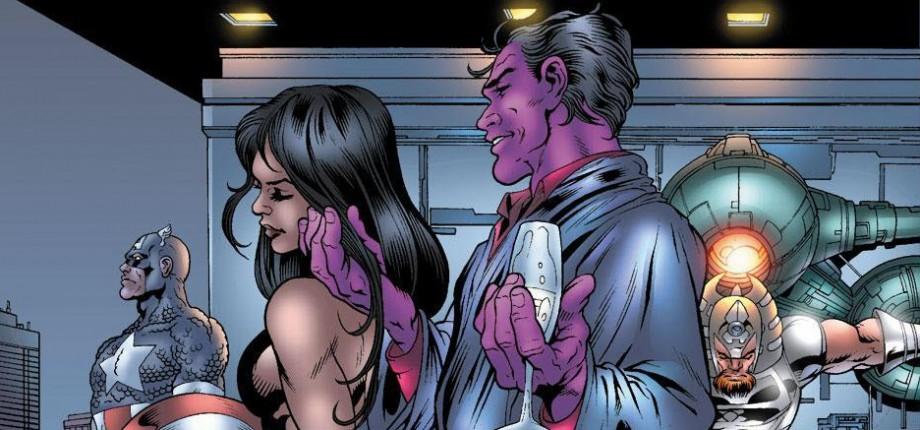 """I serien är Kilgrave lila till hudfärgen och går också under namnet """"Purple Man""""."""
