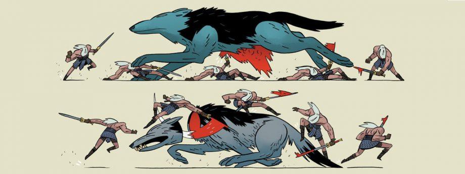 Ett exempel på hur en strid kan illustreras i Head Lopper.